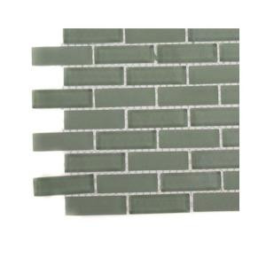 Splashback Tile Contempo Seafoam Brick Glass Tile - 3 in. x 6 in. x 8 mm Tile Sample-L6A7 GLASS TILE 203288386