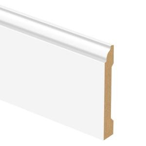 Zamma White 9/16 in. Thick x 5-1/4 in. Wide x 94 in. Length Laminate Standard Wall Base Molding-01306184324 205380655