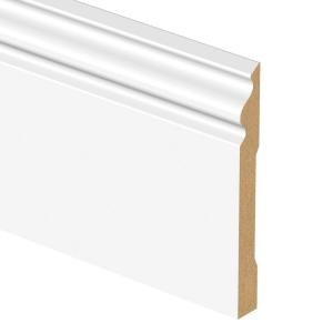 Zamma White 9/16 in. Thick x 6-1/4 in. Wide x 94 in. Length Laminate Decorative Wall Base Molding-01306954324 205380656