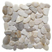 Islander White Shell 12 in. x 12 in. Sliced Natural Pebble Stone Floor and Wall Tile-20-1-007 205916321