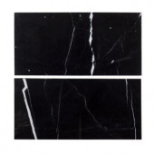 Jeff Lewis 6 in. x 12 in. Nero Marquina Polished Marble Field Wall Tile (2-pieces / pack)-98457 207174586