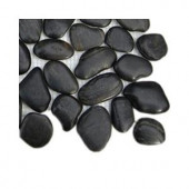 Splashback Tile 3D Pebble Rock Jet Black Stacked Marble Mosaic Floor and Wall Tile - 3 in. x 6 in. x 8 mm Tile Sample-R1A7 STONE TILES 203478137