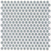 Splashback Tile Bliss Edged Penny Round Polished Modern Gray Ceramic Mosaic Floor and Wall Tile - 3 in. x 6 in. Tile Sample-T1A2 206497037
