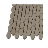 Splashback Tile Orbit White Thassos Ovals Marble Mosaic Floor and Wall Tile - 3 in. x 6 in. x 8 mm Tile Sample-L4D2 203217996