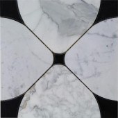 Splashback Tile Steppe Flower Black and Statuario Polished Marble Waterjet Mosaic Floor and Wall Tile - 3 in. x 6 in. Tile Sample-R2C13STPFLRBLK 206705838