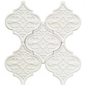 Splashback Tile Vintage Florid Lantern White Ceramic Mosaic Wall Tile - 0.31 in. x 0.31 in. Tile Sample-S1B10 206497042