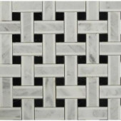 Splashback Tile Yarn Threaded Onyx Polished Marble Tile - 3 in. x 6 in. Tile Sample-C3D1YRNONX 206785993