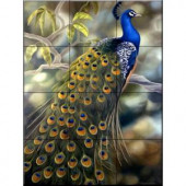 The Tile Mural Store Peacock 18 in. x 24 in. Ceramic Mural Wall Tile-15-1048-1824-6C 205842733