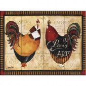 The Tile Mural Store Roosters de Paris I 24 in. x 18 in. Ceramic Mural Wall Tile-15-620-2418-6C 205842705