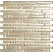 Brushstrokes Chiarro S Strips Mosaic Glass Mesh Mounted - 2 in. x 12 in. Tile Sample-CHIARRO SAMPLE 203153168