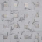 Instant Mosaic 12 in. x 12 in. Peel and Stick Faux White Marble and Brushed Stainless Metal Wall Tile-EKB-03-108 204312781