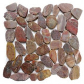 Islander Red Sapphire 12 in. x 12 in. Sliced Natural Pebble Stone Floor and Wall Tile-20-1-009 205916328
