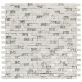 Jeffrey Court Vision Mini Brick 11.75 in. x 12 in. x 8 mm Glass/White Marble Mosaic Wall Tile-99722 204659689