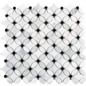 MS International Florita 13 in. x 13 in. x 10 mm Polished Marble Mesh-Mounted Mosaic Tile-FLORITA-POL10MM 300020532