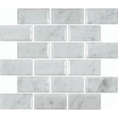 MS International Greecian White 12 in. x 12 in. Polished Beveled Marble Mesh-Mounted Mosaic Floor and Wall Tile-GRE-2X4PB 203447807