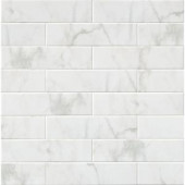 MS International Marmi Blanco White 4 in. x 16 in. Glazed Ceramic Wall Tile (11 sq. ft. / case)-NHDMARBLA4X16 206638691