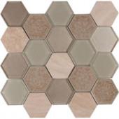 MS International Monterra Blend Hexagon 12 in. x 12 in. x 8 mm Glass Stone Mesh-Mounted Mosaic Tile (10 sq. ft. / case)-SGLS-MONBLND8 206635975
