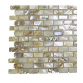 Splashback Tile Baroque Pearls Mini Brick Pattern Pearl Glass Floor and Wall Tile - 3 in. x 6 in. Tile Sample-R3D3 203218095