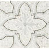 Splashback Tile Garden White Gray 12 in. x 12 in. x 10 mm Marble Mosaic Tile-GDNWHTGRY 206675404