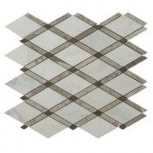 Splashback Tile Grand Lagos Gray 11 in. x 12 in. x 10 mm Polished Marble Mosaic Tile-GDLGS 206822991