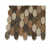 Splashback Tile Orbit Amber Ovals Marble Mosaic Floor and Wall Tile - 3 in. x 6 in. x 8 mm Tile Sample-L4C12 203217989