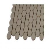 Splashback Tile Orbit White Thassos Ovals Marble Mosaic Floor and Wall Tile - 3 in. x 6 in. x 8 mm Tile Sample-L4D2 203217996