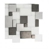 Splashback Tile Tetris Steel Ice Parisian Pattern Glass Mosaic Floor and Wall Tile - 3 in. x 6 in. x 8 mm Tile Sample-R2B6 203218058