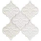 Splashback Tile Vintage Florid Lantern White Ceramic Mosaic Wall Tile - 0.31 in. x 0.31 in. Tile Sample-S1B10 206497042