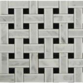 Splashback Tile Yarn Threaded Onyx Polished Marble Tile - 3 in. x 6 in. Tile Sample-C3D1YRNONX 206785993