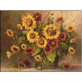 The Tile Mural Store Sunflower Bouquet 17 in. x 12-3/4 in. Ceramic Mural Wall Tile-15-1777-1712-6C 205842824