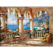 The Tile Mural Store Terrace Arch I 24 in. x 18 in. Ceramic Mural Wall Tile-15-1851-2418-6C 205842853