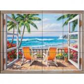 The Tile Mural Store Tropical Terrace 24 in. x 18 in. Ceramic Mural Wall Tile-15-1859-2418-6C 205842855